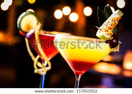 Fresh tequila sunrise ready to drink. - stock photo