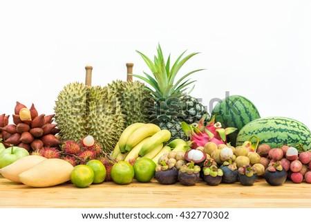 Fresh Thai fruits on white background - stock photo