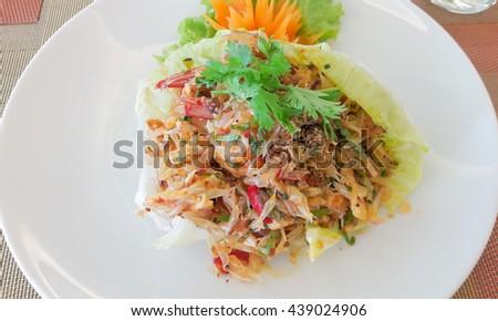 Fresh thai pomelo salad with prawn - stock photo