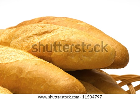 Fresh the long loaves of the bread