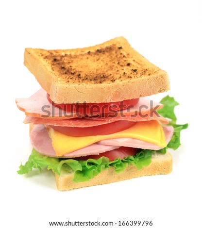 Fresh toast sandwich. Isolated on a white background.