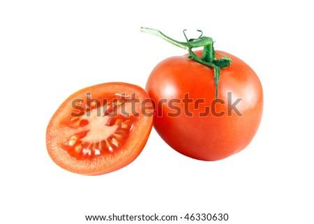 fresh tomato an white background - stock photo
