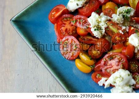 Fresh tomato and mozzarella salad on a square turquoise plate.  - stock photo