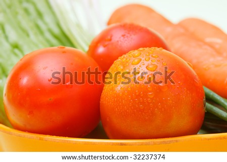 fresh tomato and some vegetables