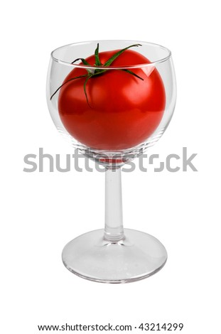 Fresh tomato in glass