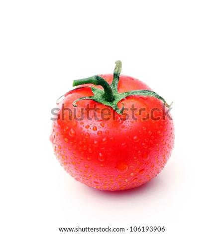 fresh tomato on white, with drops of water - stock photo