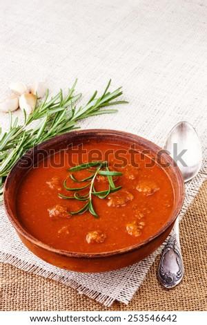 Fresh tomato soup - stock photo