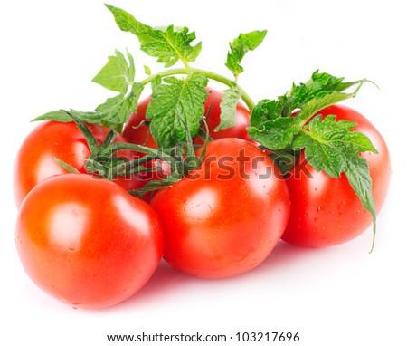 fresh tomato with leaves isolated on white background - stock photo