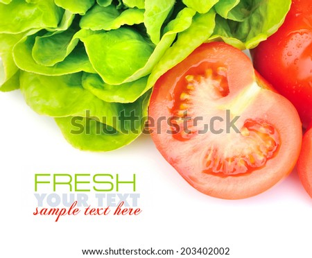 Fresh tomatoes and green salad on white background