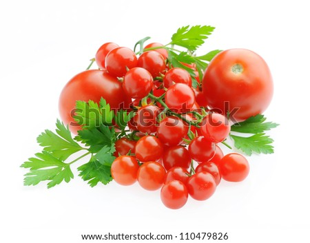 fresh tomatoes and parsley isolated on a white background - stock photo