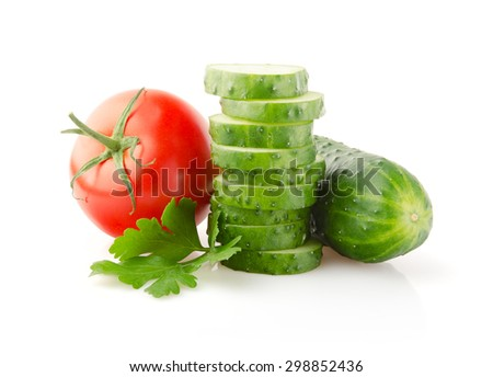 Fresh Tomatoes, Cucumbers and Parsley isolated on white background - stock photo
