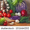 Fresh tomatoes, cucumbers, cabbage, pepper, garlic, onions for salad. Useful vitamins. Agricultural products, crop - stock photo