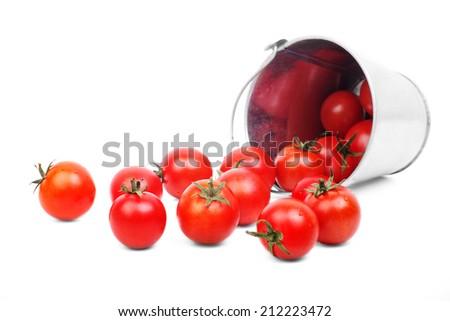 Fresh tomatoes. ripe tomatoes isolated - stock photo
