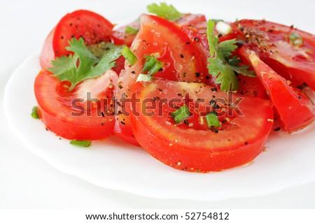 fresh tomatoes salad - stock photo