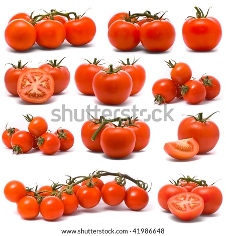 Fresh tomatoes set. - stock photo
