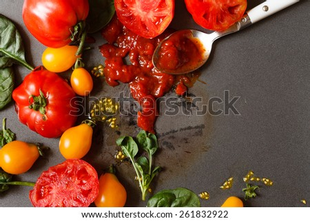 fresh tomatoes with sauce - stock photo
