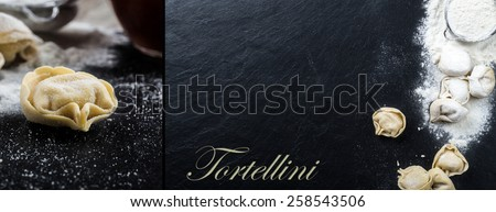 Fresh tortellini on a slate plate with ingredients - stock photo