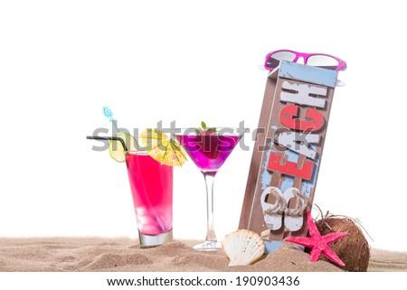 Fresh tropical cocktail on the beach - molecular mixology - stock photo