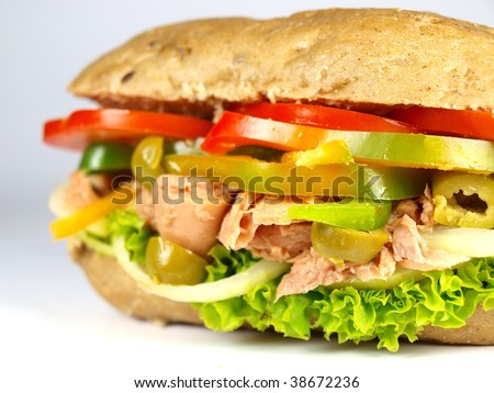 fresh tuna baguette - stock photo