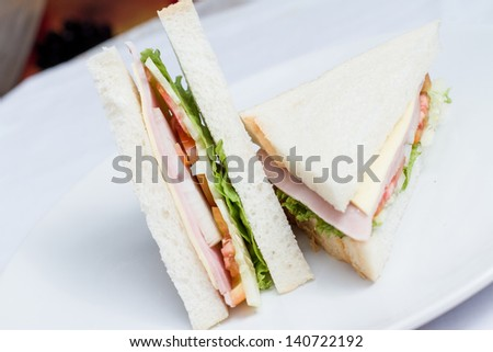Fresh two ham and cheese sandwich and vegetables home made on white dish - stock photo