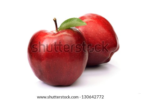 Fresh two red apple's isolated on white background - stock photo