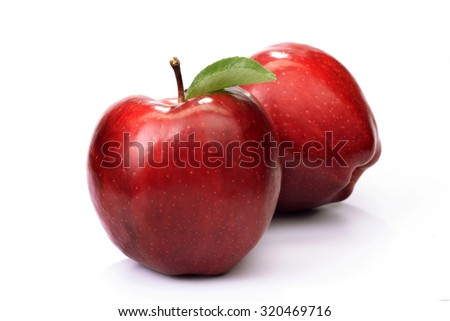 Fresh two red apple's isolated on white background