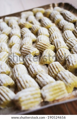 Fresh uncooked homemade uncooked gnocchi with whole wheat flour - stock photo