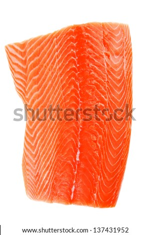 fresh uncooked red fish fillet over white - stock photo