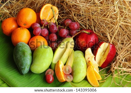 fresh various fruits.