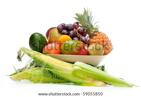 fresh various fruits and vegetables - stock photo