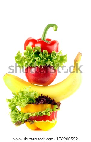 Fresh vegetable and fruit isolated on white background