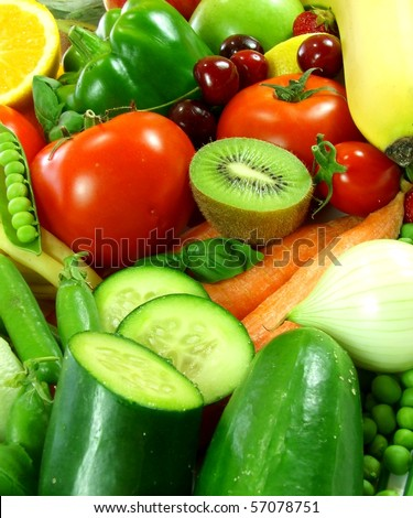 Fresh vegetable and fruits - stock photo