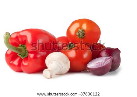 Fresh vegetable ( bell pepper, onion, tomato, mushroom, pepper) - stock photo