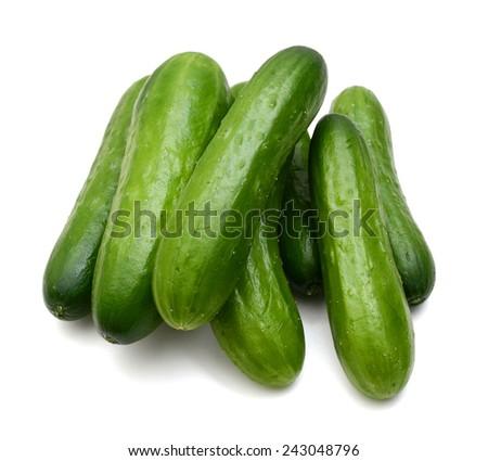 fresh vegetable cucumbers isolated on white background  - stock photo