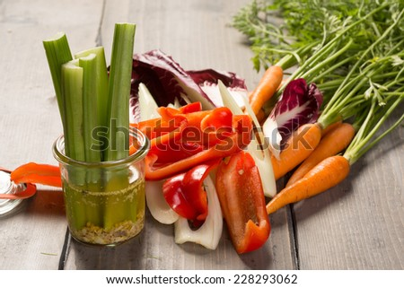 Fresh vegetable cut for appetizer and dips