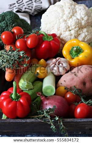 Fresh vegetable in a wooden box