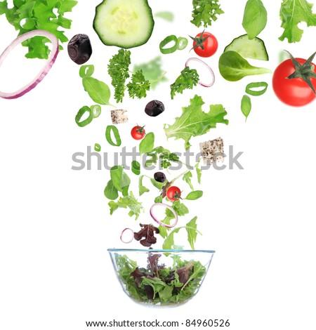 Fresh vegetable in motion - stock photo