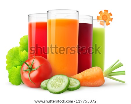 Fresh vegetable juices isolated on white - stock photo