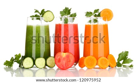 Fresh vegetable juices isolated on white - stock photo
