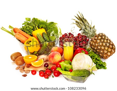 Fresh vegetable on wooden boards.  Isolated.