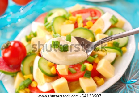 fresh  vegetable salad and spoon of mayonnaise added to this salad - stock photo