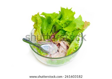 Fresh vegetable salad isolated on white in glass bowl - stock photo