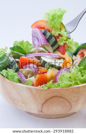 Fresh vegetable salad  on white background