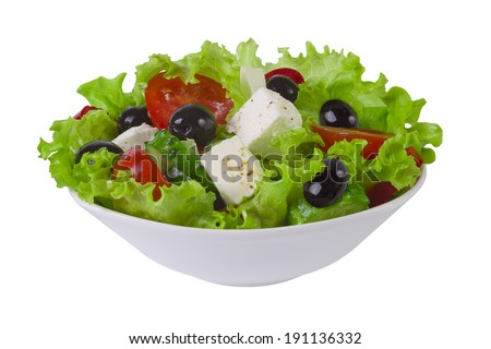 Fresh vegetable salad plate isolated on white - stock photo
