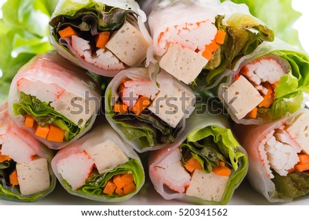 Fresh vegetable salad roll in noodle tube