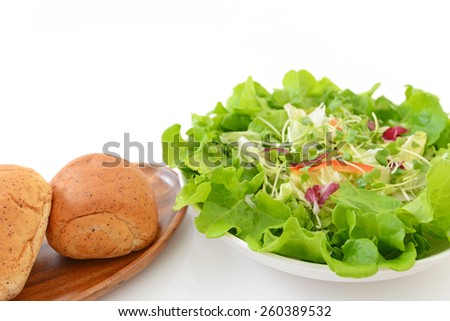 Fresh vegetable salad with breads - stock photo