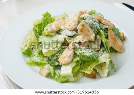 Fresh vegetable salad with chicken meat