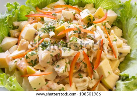 Fresh vegetable salad with potato, pasta, shrimps and red pepper - stock photo
