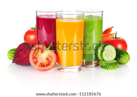 Fresh vegetable smoothie isolated on white background - stock photo