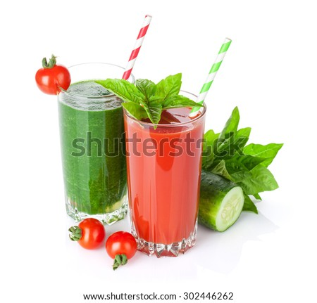 Fresh vegetable smoothie. Tomato and cucumber. Isolated on white background